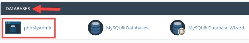 بخش DATABASE گزینهPHPMyAdmin