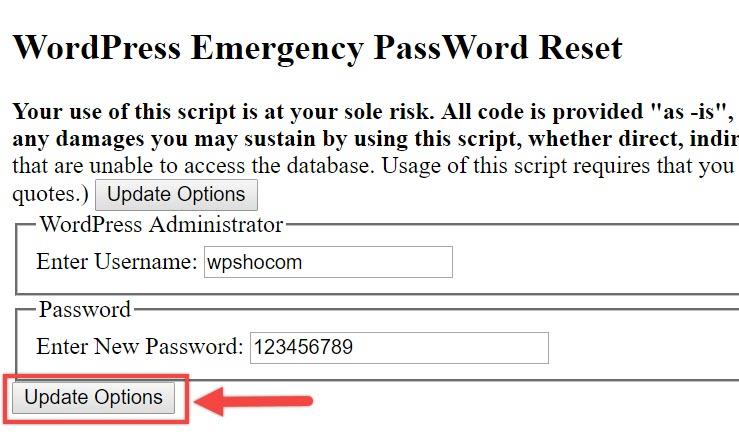 ریست پسورد وردپرس با استفاده از اسکریپت